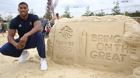 Team GB Great Boxer Anthony Joshua at BeachEast in the Queen Elizabeth Olympic Park celebrating one