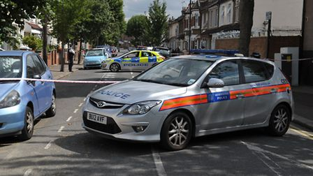 Police at the scene in Eversleigh road