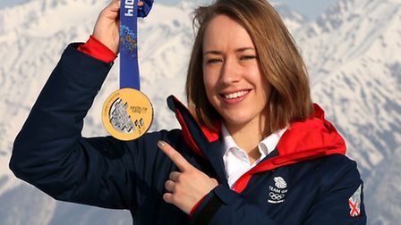 Great Britain's Lizzy Yarnold with her gold medal after winning the skeleton during the 2014 Sochi O