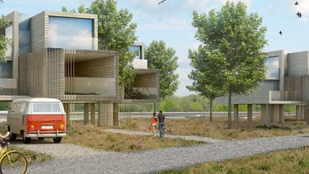 AFTER: Modern on-stilts living accommodation in the architect's view of the development. Picture: AS