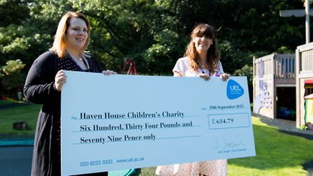 Charlie Tyce, who was Shalini�s line manager presents Charlotte Terry, Haven House�s head of communi
