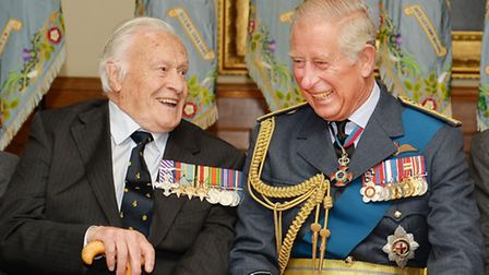 The Prince of Wales enjoys a joke with Geoffrey Wellum a veteran of the Battle of Britain during a r
