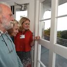 Open House Weekend at Woodford County High School. Headteacher Jo Pomeroy showing visitors the vie