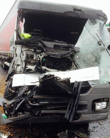 The lorry involved in the crash on the A13 (Pic: LondonAmbulance HART: @LAS_HART)