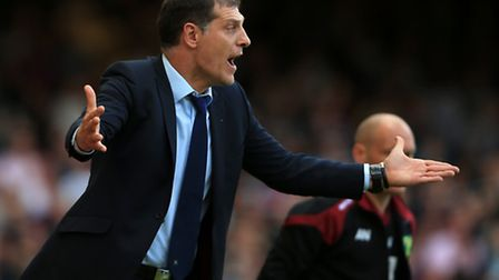 West Ham United manager Slaven Bilic gestures on the touchline during the Barclays Premier League ma
