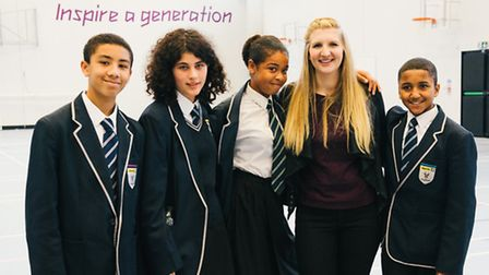 Olympic medallist Rebecca Adlington gave an inspirational talk to students at Chobham Academy in Str