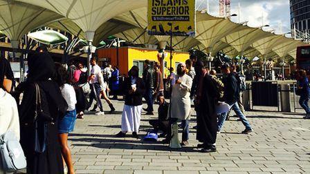 Islamists at Stratford Station protested against democracy on Saturday