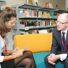 Schools minister Nick Gibb with reporter Anna Silverman