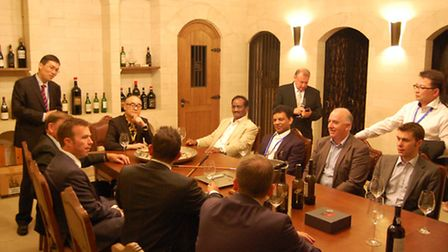 Mr Xu entertains the Newham delegation in the wine cellar