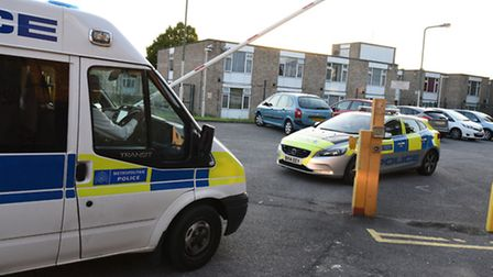 Police attending the scene of a double murder at sheltered housing in Cecil Road, Ilford. Photo: Ken