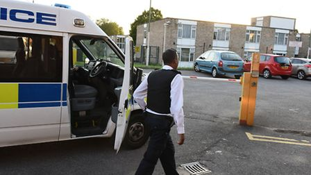 Police attending the scene of a double murder at sheltered housing, in Cecil Road, Ilford. Photo: Ke