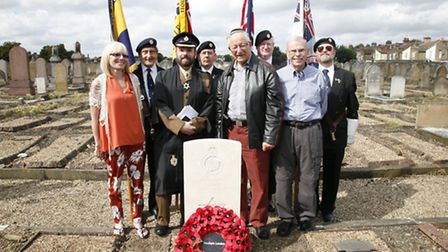 Members of the Bitd family at the grave of Private Soloman Bird (Pic: Sandra Rowse)