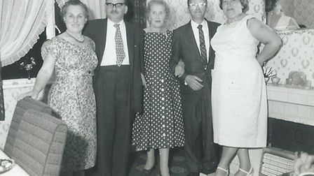 Gertrude Bird (centre), brother Charles Bird and wife on the left and brother Joseph Bird and wife o