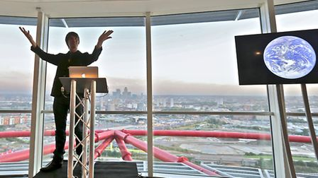 Brian Cox gives a lecture at the top of the Orbit in Queen Elizabeth Olympic Park, Stratford
