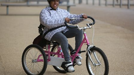 Serena Roper taking part in a new inclusive cycling programme in the Queen Elizabeth Olympic Park in