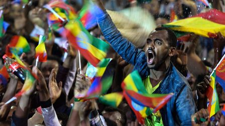People celebrate during an event held for President Isaias Afwerki of Eritrea in Addis Ababa on Jul