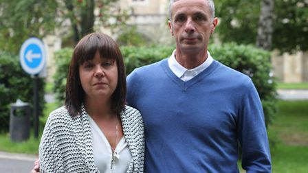 Alfie Perrin's parents Jaqui and Mark Perrin, outside Snaresbrook Crown Court