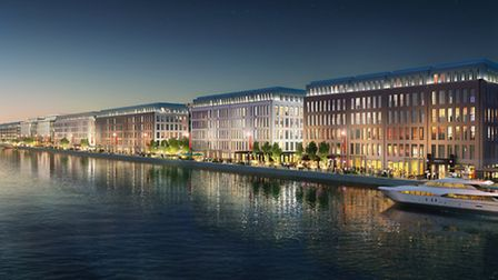 An artist's impression of how the 35-acre Royal Albert Dock business district will look
