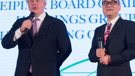 Mayor of London Boris Johnson meets Xu Weiping, chairman of ABp, at a reception in Beijing (Pic: PA