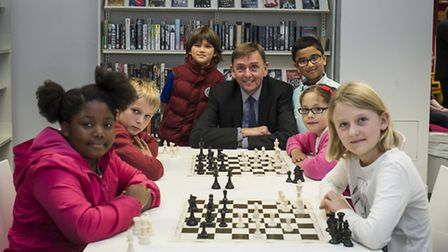 Sir Robin Wales with primary school pupils who played against their American counterparts