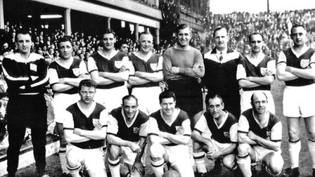 Legends reassemble � wartime Hammers heroes, including Len Goulden (fourth left, front row) and Erni