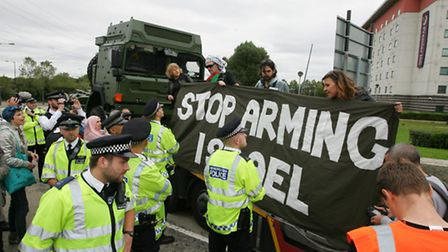 The Campaign Against Arms Trade protested against the DSEI arms fair, which was held in the ExCel Ce