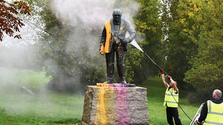 Winston Churchill statue in Woodford Green was vandalised with paint splashed over it