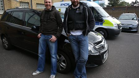 Pcs Steward Andrew and Jimmy Atkins of Redbridge Police's proactive squad. They took the Recorder ou
