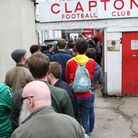 A huge queue is seen outside the Old Spotted Dog ground during Clapton's clash with Ilford (pic: Geo
