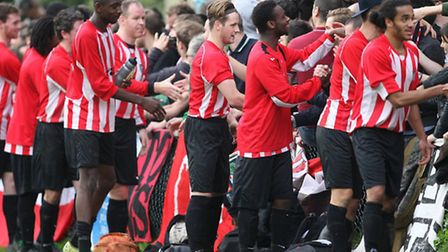 Clapton players embrace the crowd at the end of the game with Ilford (pic; George Phillipou/TGSPHOTO