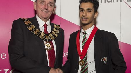 Mayor of Newham Sir Robin Wales and Young Mayor Yaseen Bux
