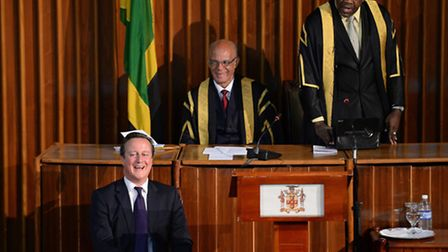 (Left to right) Prime Minister David Cameron, Speaker Michael Peart and President of Senate Floyd Mo
