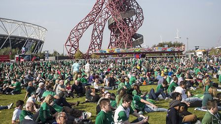 Supporters enjoy the Rugby World Cup Fanzone in Queen Elizabeth Olympic Park