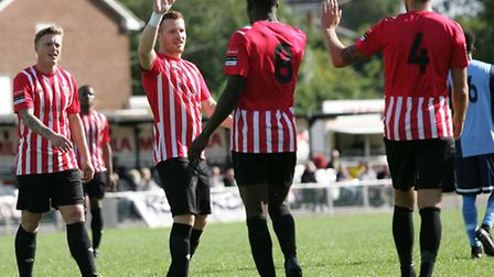 Hornchurch celebrate their second goal against Barkingside (pic: George Phillipou/TGS Photo)