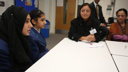 Loxford pupils share their learning experiences with teachers. Picture Ellie Hoskins
