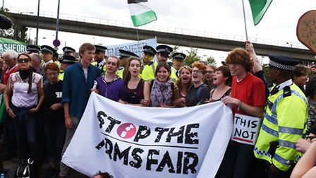 Demonstrators want the arms fair at the ExCeL stopped