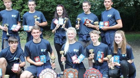 Havering youth cadets with their trophies