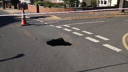 A sinkhole has appeared at the intersection between Hill Grove and McIntosh road.