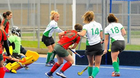 Tanya Hurst finds the net for Redbridge & Ilford women's first team against Canterbury (pic: Graham