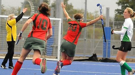 Tanya Hurst celebrates after scoring for Redbridge & Ilford women's first team against Canterbury (p
