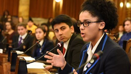 Vanessa Madu, from the Ursuline Academy Ilford, speaking in Redbridge Council Chamber during the 201