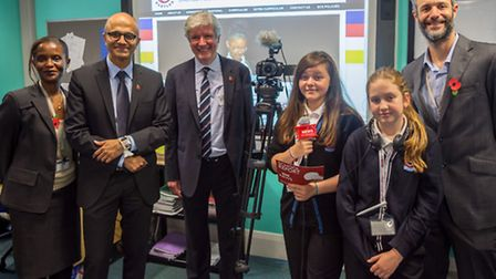 Satya Nadella and Lord Hall with Eastlea staff and students (picture: Ben Moss)
