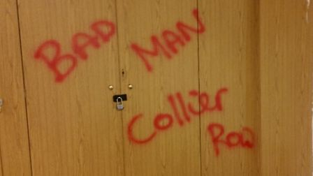 The vandals covered the church hall in graffiti like this