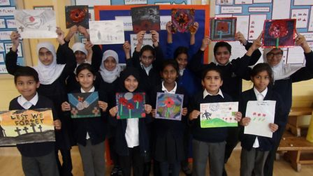 Kensington Primary School pupils created images inspired by Remembrance Day