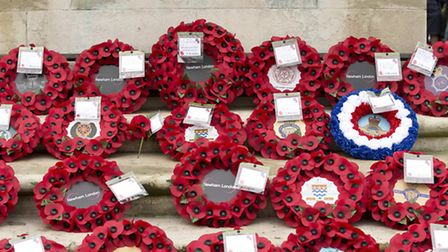 Poppies at the cenotaph in East Ham's Central Park