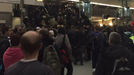 Crowds at Stratford station on Tuesday night after the assault of John Francis Breen. He has since d