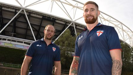 Rugby League players Chris Hill and Sam Tomkins ahead of the first rugby league international being