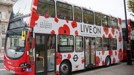 One of the buses with special poppy livery (picture: Alan Barnes Photography)