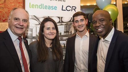 (left to right) Chris Howcroft (Lendlease), students Colleen Liston and Joshua Green and Jason Vince