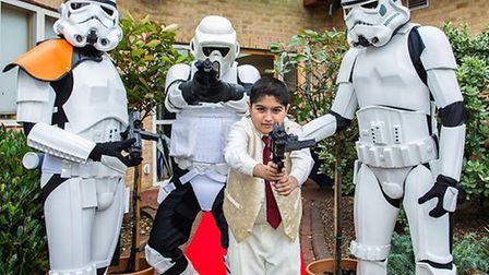 12-year-old Shaan Ali meets some Stormtroopers at the Richard House Oscars ceremony